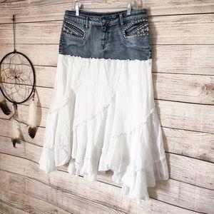 Candies Denim Boho White Ruffled Skirt